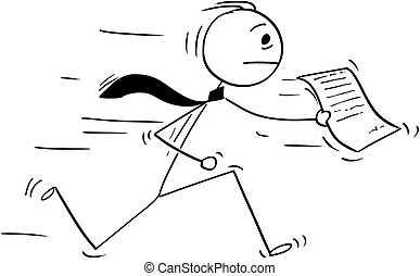 Cartoon of Businessman Running with Piece of Paper or...
