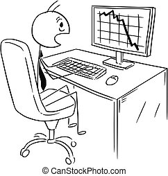 Cartoon of Businessman Shocked by Market, Profit or Cost Chart or Graph Falling Down