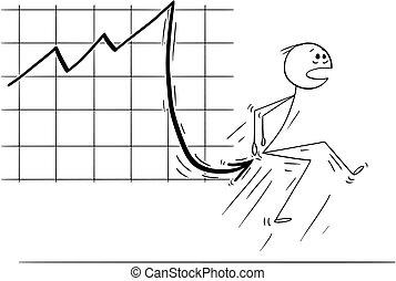 Cartoon of Businessman Stabbed in Bottom by Falling Financial Chart Arrow