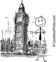 Cartoon of Businessman Standing in Front of Big Ben Clock Tower in London, England