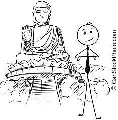 Cartoon of Businessman Standing in Front of the Tian Tan or Big Buddha statue, Hong Kong