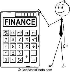 Cartoon of Businessman Standing With Big Electronic Calculator and Finance Text