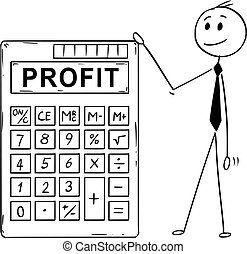 Cartoon of Businessman Standing With Big Electronic Calculator and Profit Text
