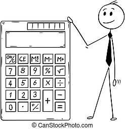 Cartoon of Businessman Standing With Big Electronic Calculator