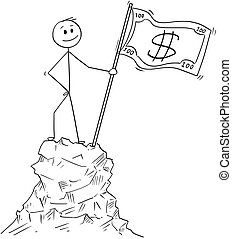 Cartoon of Businessman Standing With Dollar Bill Flag on Top or Peak of the Mountain