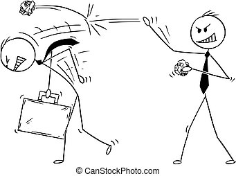 Cartoon of Businessman Throwing Paper Balls on Another Man