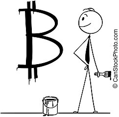 Cartoon of Businessman With Paint Can and Brush and Bitcoin...