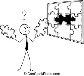 Cartoon of Businessman with Two Jigsaw Puzzle Pieces in Hands to Decide