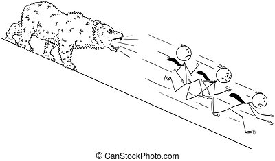 Cartoon of Businessmen Running Down the Hill From Bear