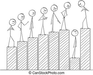 Cartoon of Businessmen Standing at Graph or Chart...