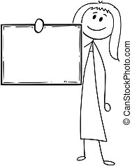 Cartoon of Businesswoman or Woman Holding Empty or Blank Sign