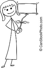 Cartoon of Businesswoman with Plant as Empty Sign in Hand