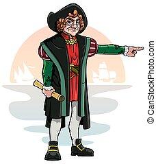 Cartoon of Christopher Columbus.