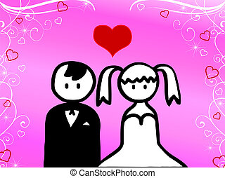 Cartoon of couple getting married