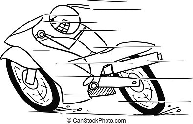 Cartoon of Crazy Man on Motorbike