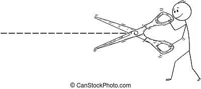 Cartoon of Cut Line and Man or Businessman Cutting With Big...