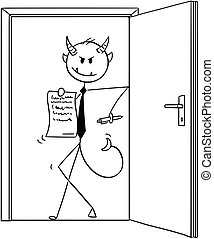 Cartoon of Devil Businessman Standing in Door and Offering Contract to Sign