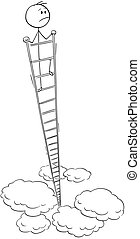 Cartoon of Dissatisfied Man or Businessman Looking Around From the Top of Very High Ladder