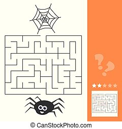 Cartoon of Education Maze or Labyrinth Activity Game for Children with Spider