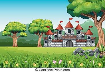 Cartoon of fairy tale castle with nature landscape