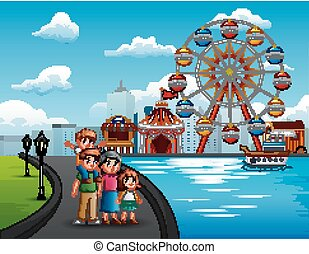 Cartoon of family vacation with amusement park background