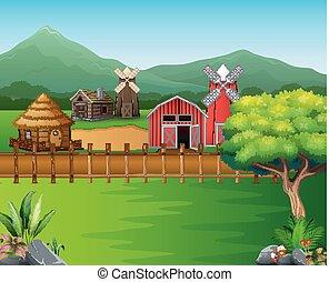 Cartoon of farm landscape with the beautiful nature