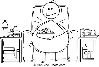 Cartoon of Fat or Overweight Man Sitting on Armchair,...