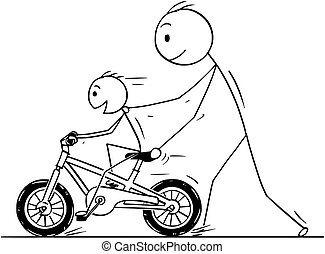 Cartoon of Father and Son Learning to Ride a Bike or Bicycle