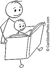 Cartoon of Father and Son Reading a Book Together