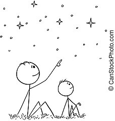 Cartoon of Father and Son Watching Night Sky Stars