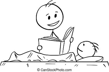 Cartoon of Father Reading Bedtime Story or Book to Son