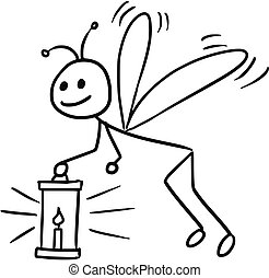 Cartoon of Firefly - Cartoon vector doodle stickman firefly...
