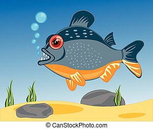 Cartoon of fish to piranhases sailling in river - Vector...
