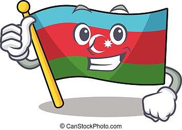 Cartoon of flag azerbaijan making Thumbs up gesture