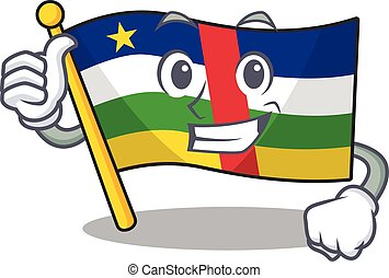 Cartoon of flag central african making Thumbs up gesture