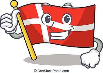 Cartoon of flag denmark making Thumbs up gesture