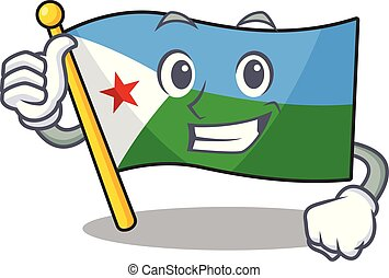 Cartoon of flag djibouti making Thumbs up gesture