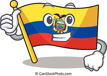 Cartoon of flag ecuador making Thumbs up gesture