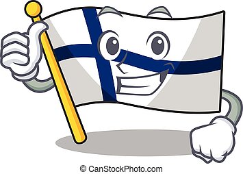 Cartoon of flag finland making Thumbs up gesture