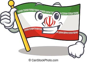 Cartoon of flag iran making Thumbs up gesture