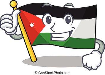 Cartoon of flag jordan making Thumbs up gesture