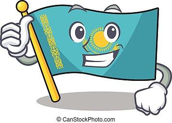 Cartoon of flag kazakhstan making Thumbs up gesture