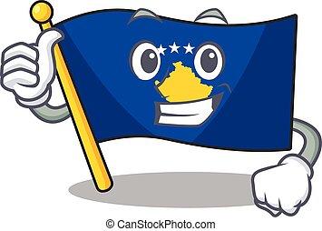 Cartoon of flag kosovo making Thumbs up gesture