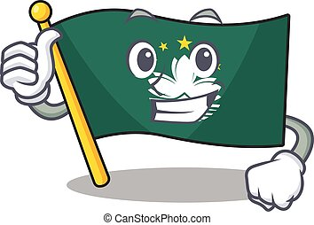 Cartoon of flag macau making Thumbs up gesture
