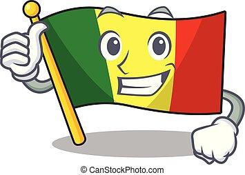Cartoon of flag mali making Thumbs up gesture