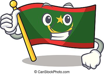 Cartoon of flag mauritania making Thumbs up gesture
