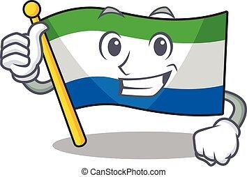 Cartoon of flag sierra leone making Thumbs up gesture