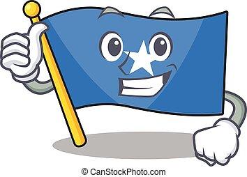 Cartoon of flag somalia making Thumbs up gesture