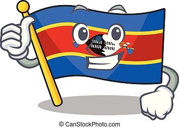 Cartoon of flag swaziland making Thumbs up gesture
