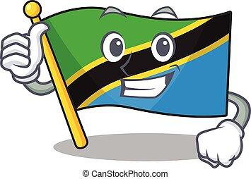 Cartoon of flag tanzania making Thumbs up gesture